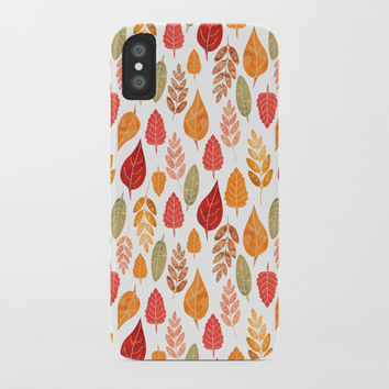 Painted Autumn Leaves Pattern iPhone Case by Tanyadraws
