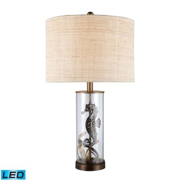 Largo LED Table Lamp In Bronze And Clear Glass With Natural Linen Shade