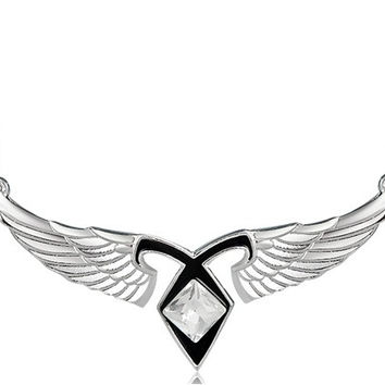 Wing Shape Designed Crystal Decorated Necklacce Pendant Keychain (Silver + Black)