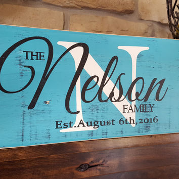 Rustic Personalized Wood Monogram Sign-Family Nelson Style