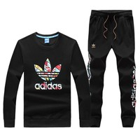 Adidas Fashion Leopard Print Sport Running Tops Pants Set Two-Piece Sportswear