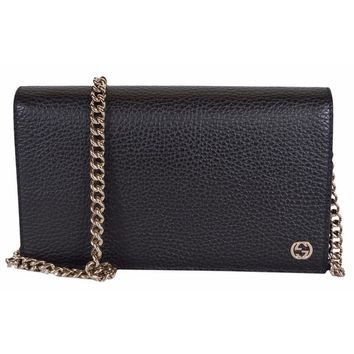 "Gucci 466506 Black Leather Interlocking GG Crossbody Wallet Bag Purse - 8"" x 4.5"" x 1.5"" 