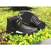 Air Jordan 12 Retro AJ12 Black/Gold Sport Shoes