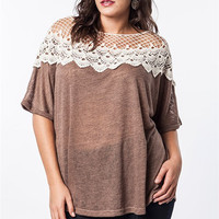 Patched Lace Sweater Tee: Mocha - Curvy Girl