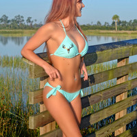 TOP-mint triangle bikini top with metallic brown deer skull