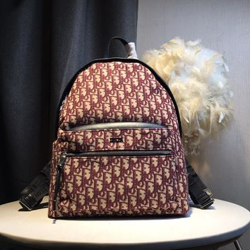 Kuyou Gb59819 Dior Backpack In Burgundy Dior Oblique Canvas 30x 15x42cm