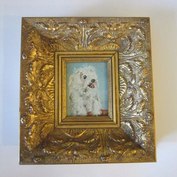 White Poodle Dog Painting Signed Oil On Board
