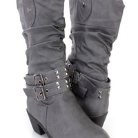 Grey Slouchy Studded Strappy Cowboy Boots Faux Leather