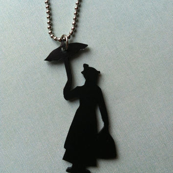 Mary Poppins Silhouette Pendant by PaperComposure on Etsy