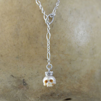 Carved Pearl Skull Lariat Necklace - Sterling Silver Lariat Necklace - Skull Pendant - Skull Necklace - Gift for Her - Holiday Gift