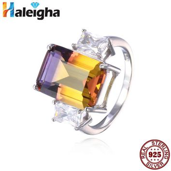 Fine Jewelry Dainty Created Ametrine Rings for Women Bi-Color Real 925 Sterling Silver 10*14mm Haleigha anillos grandes de mujer