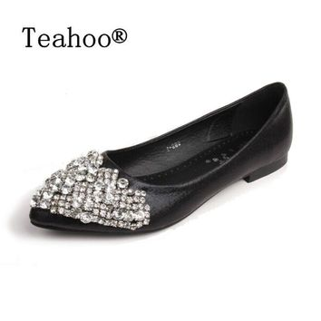 new fashion 2017 flats shoes women ballet princess shoes for casual crystal boat shoes  number 1