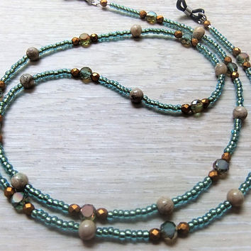 Boho Eyeglass Chain Eyeglass Necklace Lanyard ID Name Badge Holder African Opal Stones Teal and Gold Crystals Aqua Seeds Shannon's Whimsies