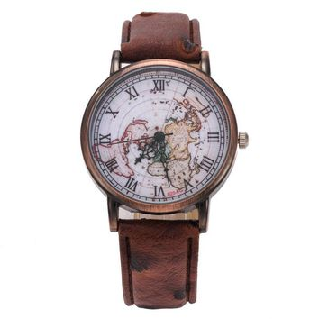 Hot Selling Retro Men Women Watches World Map Pattern Analog PU Leather Quartz Watch Wristwatches Clock relogio feminino &22