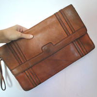 Brown Saddle Leather Bag / envelope Clutch / 1970s purse