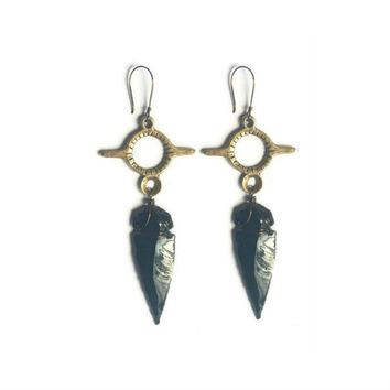 Maka Arrowhead Earrings  || Bohemian jewelry, talisman, native american inspired, sacred jewelry, adornments, cast jewelry, jasper
