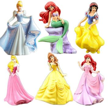 Princess Doll Rapunzel Cinderella Belle Little Mermaid Ariel Aurora Snow White Mode Toy Action Figures Kids Toys Children Gift