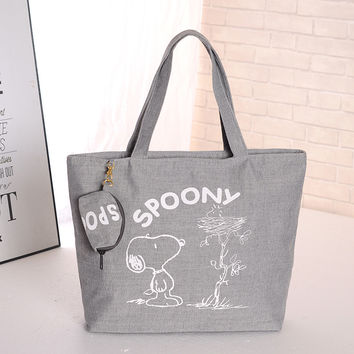 Free shipping Snoopie Cartoon Dogs Canvas Hand Bag Female Women Portable Storage bags 38CM Christmas gift