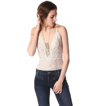 White lace bodysuit with plunge neck