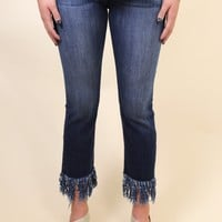 Frayed Hem Jean, Medium Dark
