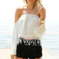 Strapless sexy tassel shirt MG818GJ – Larue Apparel