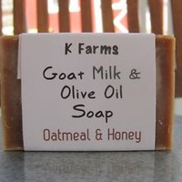 Handmade Goat Milk Soap with Olive Oil & Colloidal Oatmeal, 1 Scented Bath Bar