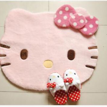 Kawaii Cartoon Soft Fur Bowknot Hello Kitty My Melody Home Use Carpet Floor Mat Car Rug