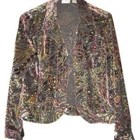 Chico's Womens Burn Out Velvet Evening Jacket Size 1 S Small Gold Sequins Top