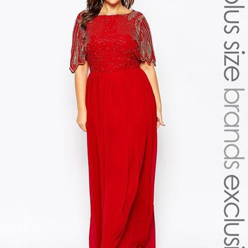Virgos Lounge Plus | Virgos Lounge Plus Lena Maxi Dress With Embellishment at ASOS