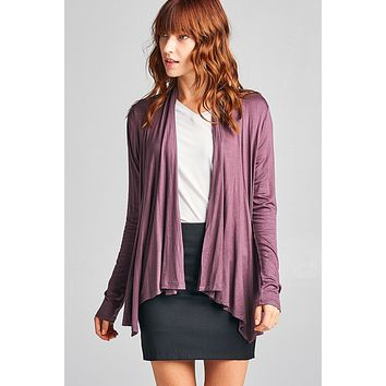 Ladies Fashion Long Sleeve Open Drape rayon Spandex Jersey Cardigan