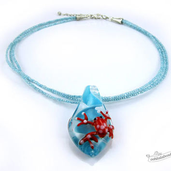 Red frog necklace turquoise choker lampwork necklace glass jewelry statement necklace glass pendant necklace murano glass bead necklace gift