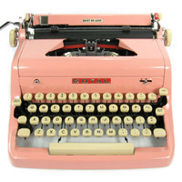 1956 Pink Royal Typewriter Quiet DeLuxe with Original Case and Vintage Metal Ribbon Spools