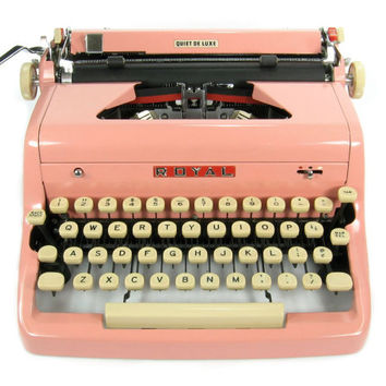 1956 Pink Royal Quiet DeLuxe Typewriter with Original Case and Vintage Metal Ribbon Spools