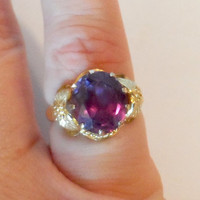 10K Yellow Gold Alexandrite Ring, Size 7, Lab Created Alexandrite, Mothers Day, Vintage 1990s, June Birthstone, Gift for Her, Fine Jewelry, Art Nouveau