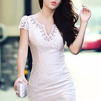 Short Sleeve Beaded Neckline Floral Lace Bodycon Mini Dress