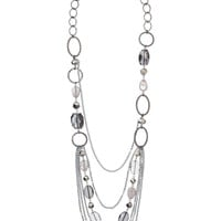 Multiple Chain And Facet Stone Drape Necklace - Black Diamond