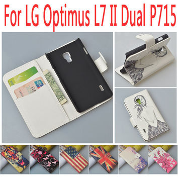 Luxury Leather case for LG Optimus L7 II Dual P715 P 715 flip cover case housing with LGP715 OptimusL7 II phone covers cases