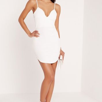 Missguided - Strappy Plunge Bodycon Dress White