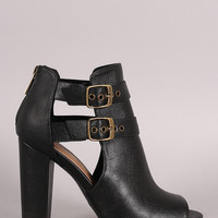 Bamboo Double Buckled Cutout Heeled Booties