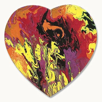 Heart shaped painting, original abstract painting on canvas, , original painting, small painting, Valentines Day gift, fluid painting