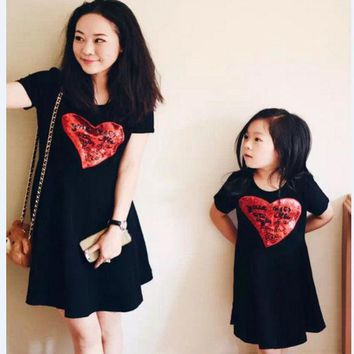 CREYWQA 2016 Girl Dress Casual Summer Matching Mother Daughter Princess Dresses Lady Cherry Print Cotton Family Clothing Vestidos