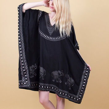 Elephant kaftan cover up / Vintage 80s black ethnic batik tribal caftan / bohemian beach summer dress boho ethnic india midi S M