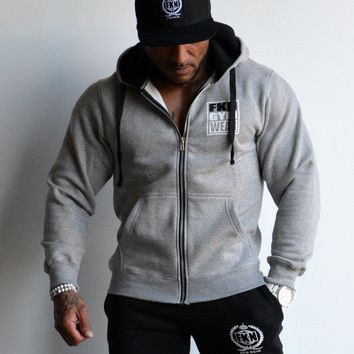 FKN Gym Wear Men's 'Gun Smuggler' Hoodie - Grey