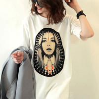 Casual Face Printed Short Sleeve Loose  T-shirt in Midi Length