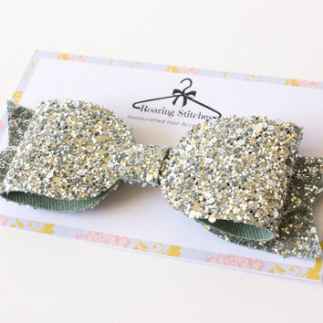 Sparkling silver hairbow - glitter hair clip - oversized large bow