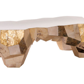 "Zoe 49"" Coffee Table, Gold, Cocktail Table"