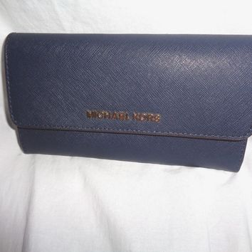 MICHAEL KORS JET SET TRAVEL LARGE TRIFOLD WALLET NAVY BLUE LEATHER CLUTCH