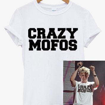 Hot CRAZY MOFOS Niall Horan One Direction Punk Rock 1D Men COtton T Shirt - CR3