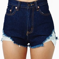 Wrecked Cutoff Shorts - Dark Blue