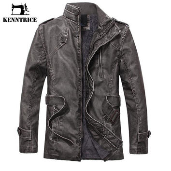 Popular Winter Waistband Leather Jackets Men Coats Fashion Causal Men Long Trench Coat Faux Sheepskin Fur Coat Men